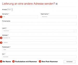 Formular Packstation/Abweichende Lieferadresse